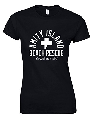 Designs by The Crown Amity Island Beach Rescue Horror Film Inspired Gift for Women & Teenagers Fitted T-Shirts Tops