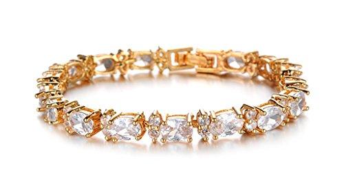 16b729690fea AnaZoz Pulsera de Mujer Pulsera de Tenis Para Mujer Cristal Flor 18K Chapado  en Oro Blanco