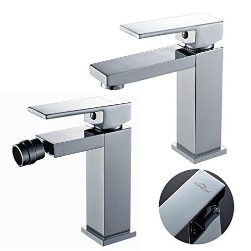 Auralum miscelatore monocomando per lavabo + miscelatore bidet bagno finitura cromo