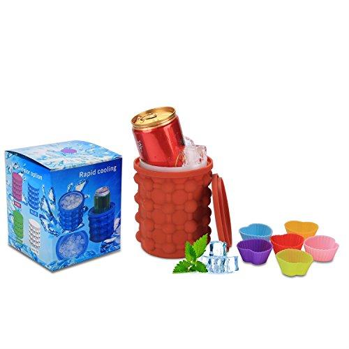 Neu Silikon Eiswürfelschalen für Gefrierschrank Sparen Eiskugel Macher Eimer Die revolutionäre Space Spar Genie Eis Party Drink Tub Mold Küche Cocktail, Getränke (Kaffee)