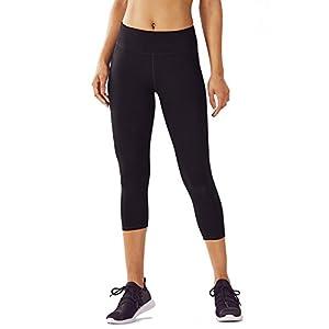 dh Garment Leggins 3/4 Damen Laufhose Sport Leggings Capris Yoga Pants kurz Training Tights mit Versteckte Tasche,Blickdicht