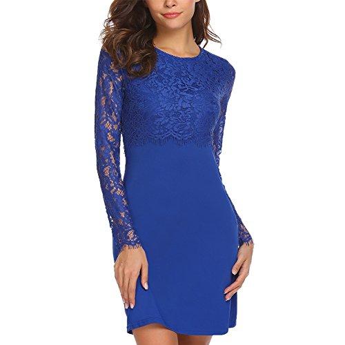 Chigant Damen Elegant Kleid Rundhals Cocktailkleid Knielanges Langarm Spitzenkleid Bodycon Stretch Ballkleid Abendkleid Blau L (Blaues Kleid Für Frauen Hochzeit)