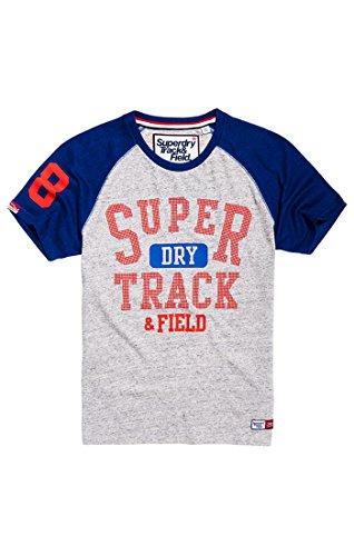 Superdry Herren Trackster Baseball Tee T-Shirt, Grau (SD Gry Marl/Sonic Blast Blue QL5), M -