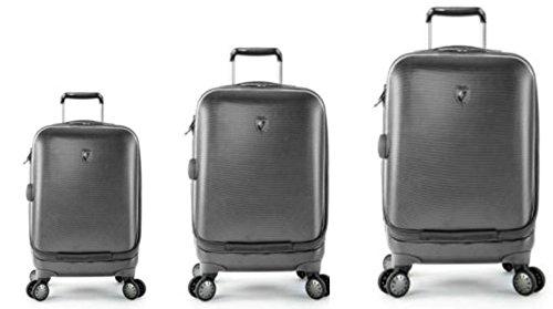 Sets de Bagages, valises - Première Classe Valise Rigide Set 3 pièces - Heys Crown Smart Portal Gris Bagages à Main + Trolley avec 4 Roues Mèdias + Trolley avec 4 Roues Grand