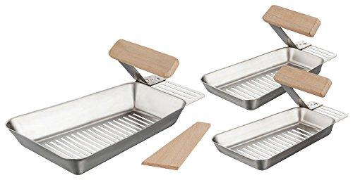 3er Set BBQ Grillpfannen | 1x Groß + 2x Klein mit praktischem Griff zum Abnehmen| Edelstahl rostfrei | inkl. Pfannenwender | Universal Grillkörbe für Gemüse & Fisch