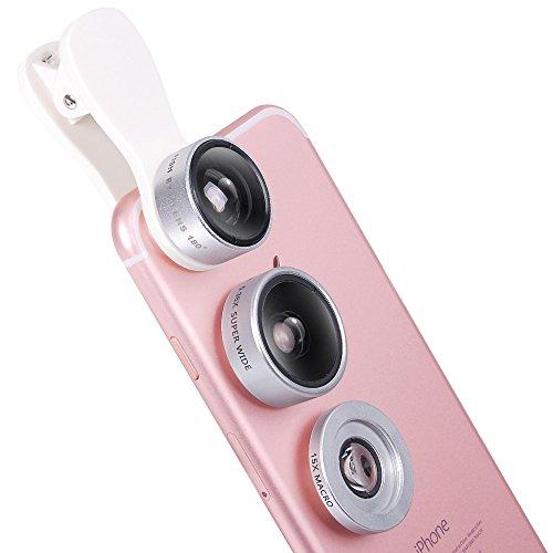 Super Makro + Super Weitwinkel,Evershop Universal 3 in 1 Kamera objektiv mit 0.36X Weitwinkelobjektiv + 15X Makroobjektiv Installationssatz + 180°Fisheye Objektiv für iPhone 7/6 6S plus,Sumsung,HTC und alle anderen Smartphones & Laptop/iPad(Silber)
