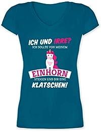Ich und irre Einhorn Einh/örner Lockeres Damen-Shirt in gro/ßen Gr/ö/ßen mit Rundhalsausschnitt