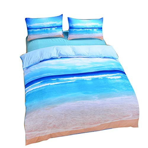 DO.CKEB 3 Stück Ocean Beach View Bettbezug-Set Mikrofaser-Bettwäsche-Set 3D-Druck doppelseitig Super weich Bettbezug Kopfkissenbezüge Blau,228 * 228cm (Ocean Tröster Set Königin)