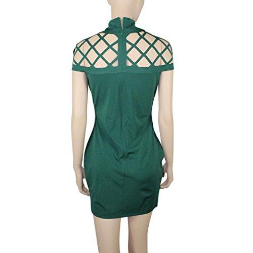 Robe Femme, Oyedens Haut De Femmes De Cou Moulantes Manches Cage Mini-Robe Vert
