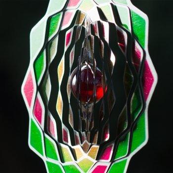 Edelstahl Windspiel – Flower 200 Lotus – beidseitig koloriert – mit Haken, Kugellagerwirbel und Kristallkugel (Lotus) - 4