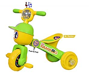 Goyal'S Mr. Rambo Baby Tricycle Ride-On Bicycle - Foldable Rider With Music & Lights (Green)