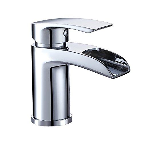 Design Kurzer Wasserfall Waschtischarmatur Einhebelmischer-Waschtischbatterie Bad Armatur Wasserhahn für Waschbecken