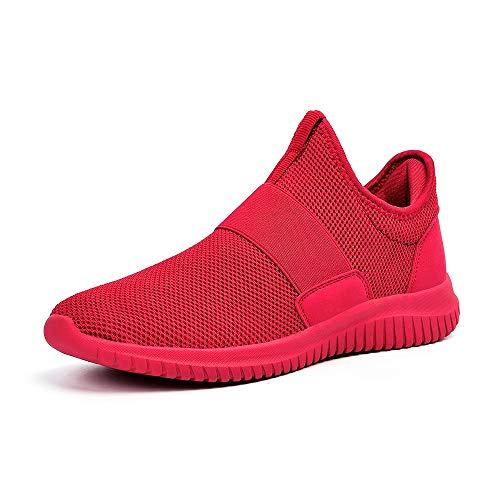 ZOCAVIA Sportschuhe Slip on Leicht Laufschuhe Sneaker Atmungsaktiv Freizeitschuhe Damen Herren Rot 39 EU