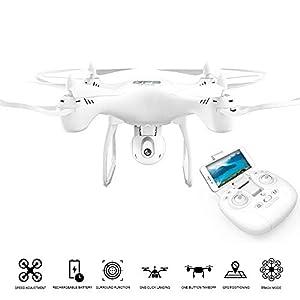 FP-TECH fp-x601h-Drone esacottero teledirigido con giroscopio 6Ejes Vuelo 3D con Cuaderno Altura y cámara FPV, Dorado