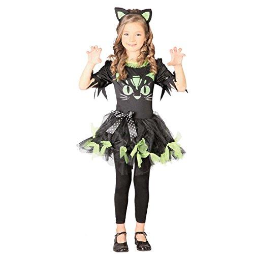 zchen Katzenkostüm Mädchen S 110/116 5 – 6 Jahre Halloween Kinderkostüm Katze Tierkostüm Kinder Katzenkleid Faschingskostüm Outfit Kinderfastnacht (Halloween-kostüme Für 6 Mädchen)