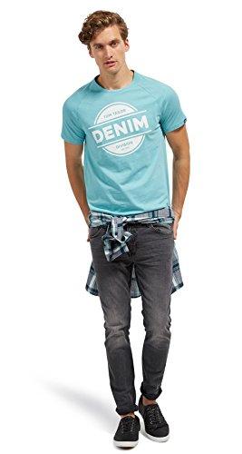 Tom Tailor Denim für Männer T-Shirt T-Shirt mit Sprenklern und Print summer teal