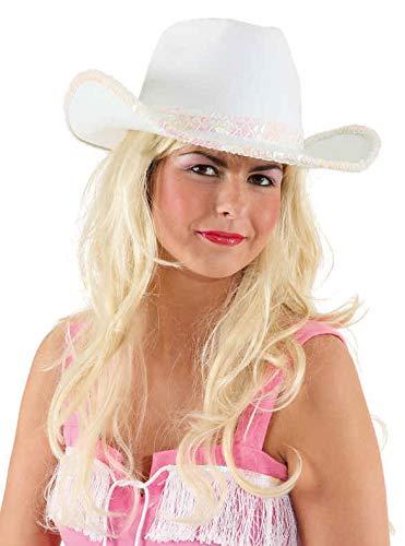 narrenkiste O23085 weiß Damen Cowgirl-Cowboy Hut mit Paillettenband