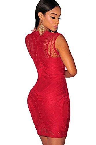 COSIVIA Robe Femme Dentelle Illusion Nude sans manches Robe moulante Bodycon Robe Rouge