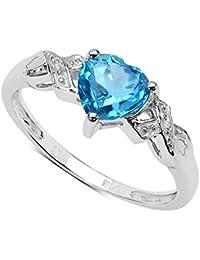 La Colección Anillos Diamantes: Anillo compromiso con corazón de Topacio 6x6mm set de diamantes,