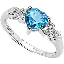 La Colección Anillos Diamantes: Anillo compromiso con corazón de Topacio 6x6mm set de diamantes, anillo de plata, Perfecto para Regalo, aniversario, Tallas 8,9,10,11,12,13,15,16,17,19,20,21,22,24