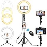 Generic Selfie Ring Light with Tripod Stand and Phone Holder, LED Camera Ring Light with 3 Light Modes & 11 Brightness Level for YouTube Video/Live Stream/Makeup (A)
