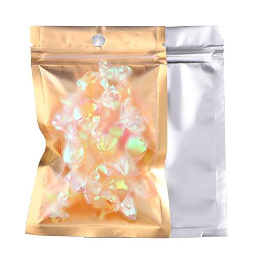 Mylar-Reißverschlusstaschen, 200 Stück, durchsichtige goldfarbene wiederverschließbare Mylarbeutel, Folientaschen, doppelseitig, metallische Folie, Mylar, flache Reißverschluss-Taschen für Süßigkeiten