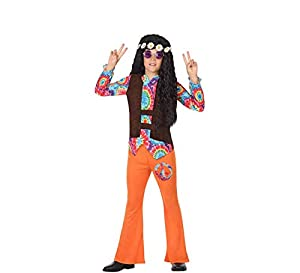 Atosa-56855 Disfraz Hippie, Color Naranja, 7 a 9 años (56855)