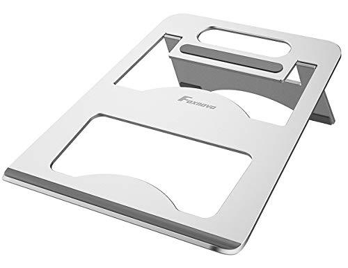 Foxnovo Laptop-Ständer, tragbar, verstellbar, Aluminium, Kühl-Ständer für MacBook Pro/MacBook Air/alle Notebooks, ergonomisch faltbar, kompatibel mit 7-17 Zoll Laptops, silberfarben