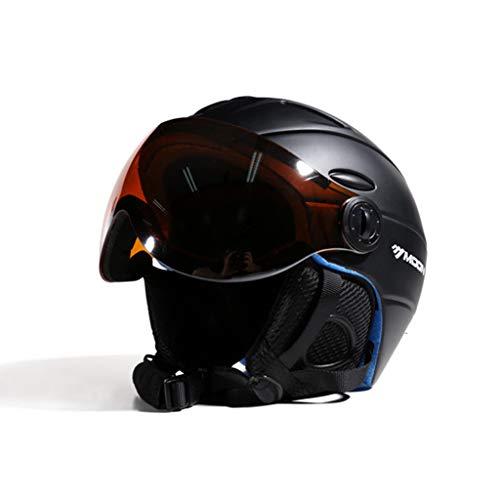 Preisvergleich Produktbild Goney Helm Skihelm Winter Outdoor Sports Schutzausrüstung mit Brille Safe Light Warm für Skifahrer Männer Frauen (Farbe : SCHWARZ,  größe : XL)