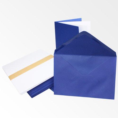 25x Einladungskarten Set inklusive Briefumschläge & extra Einlegeblätter - Blanko Klapp-Karten in Dunkel-Blau - bedruckbare Post-Karten in DIN A6 Format - speziell zum Selbstgestalten & Kreieren