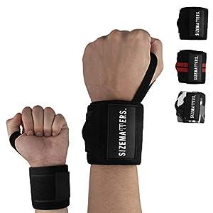 Sizematters. Männer & Frauen Handgelenk Bandagen (45cm) – Ideal für Fitness, Bodybuilding, Kraftsport & Crossfit (Farben: Schwarz, Camouflage, Schwarz Weiß)
