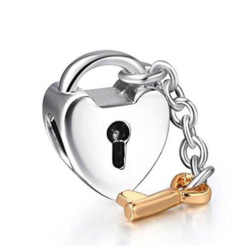 Waya plata charms clave para mi corazón Love Dangle Beads para collar pulseras brazalete cadena de serpiente joyas colgante de llave de bloqueo