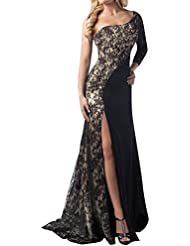 LaoZan Vestidos de Fiesta para Bodas - Encaje Hendidura Asimetría - Estilo y Elegante Negro Medium