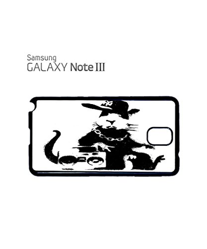 Banksy Geek Rat Gangster Ghetto Mobile Cell Phone Case Samsung Note 2 Black Blanc