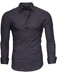 Kayhan Originale Uomo Camicia Slim Fit Facile Stiro Cotone Maniche Lungo S M L XL XXL 2XL -Modello Uni