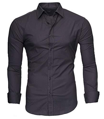 Kayhan Hombre Camisa, langarmhemd 2145 New Grey (L)