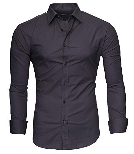extra slim fit hemden Kayhan Langarmhemd A.L.T Grau (L)