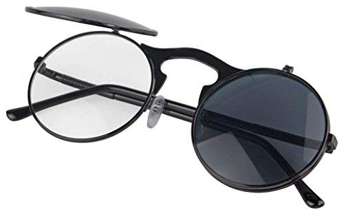 Red Peony Runde Steampunk Polarisierte Sonnenbrille Metall Rand Rahmen Flip up Linse für Herren Damen UV400 (A/schwarz/schwarz, Nicht polarisiert)