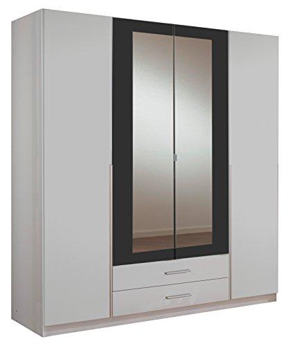 Wimex 153453 Kleiderschrank, 4-türig mit zwei Schubkästen und zwei Spiegeltüren, Korpus, 180 x 198 x 58 cm, anthrazit
