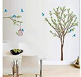 ZJMIQT Fiore Albero di diramazione Birdcage Misura Altezza Grafico di Crescita Wall Stickers Home Decor murale Rimovibile Baby Poster Decalcomania vivaio 805