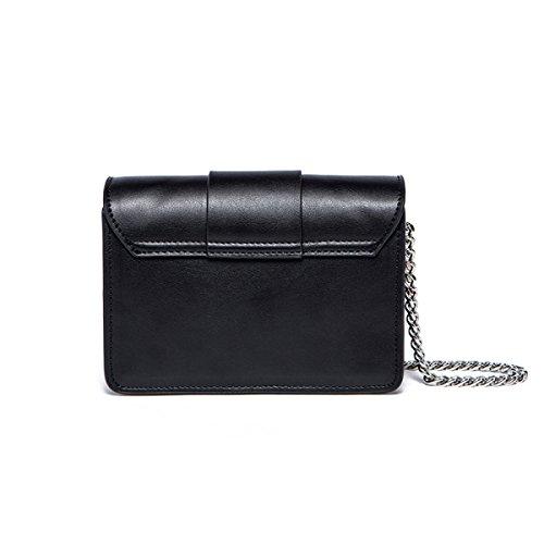 Frauen Echtes Leder Niete Hardware-Sicherheitsschloss Einzelne Schulter-Umhängetasche Tasche. Black