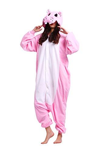 toon Strampelanzug Cosplay Pyjama Anime Animals Kostüme Erwachsene Kigurumi Hoodie Nachtwäsche Hippo XL ()