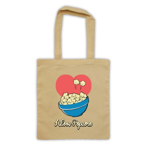 """Scritta in inglese """"I Love Popcorn, stile borsa natur"""