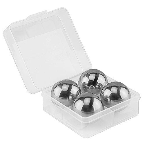 mumbi Getränkekühler wiederverwendbare Eiswürfel in Kugelform Whisky Kugeln aus Edelstahl Geschmacksneutral in einer praktischen Box (4er Set) (Whisky-kugeln Aus Stahl)