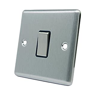 Light Switch 1 Gang - Satin Chrome - Square - Black Insert - Metal Rocker Switch - 1 Gang 2 Way 10 Amp