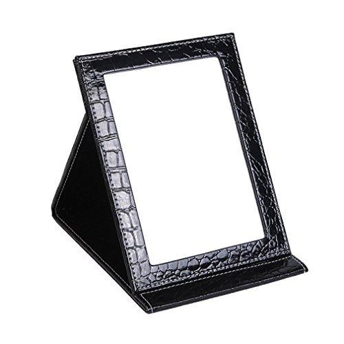 Foto de jyhy maquillaje espejo espejo de tocador espejo compacto portátil plegable espejo de sobremesa con acolchado de piel sintética Cove Camping viaje