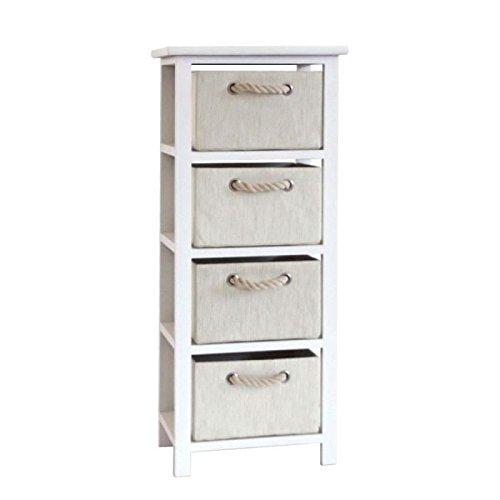 MODENA Petit meuble de rangement de salle de bain 34 cm - Laqué blanc brillant et beige