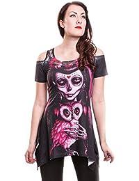 Vixxsin T-Shirt Schulterfrei Tag der Toten - Muerte Owl X Longshirt mit Spitze