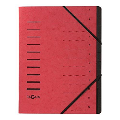 Pagna 40059-01 Ordnungsmappe, 12-teilig, 1-12, rot