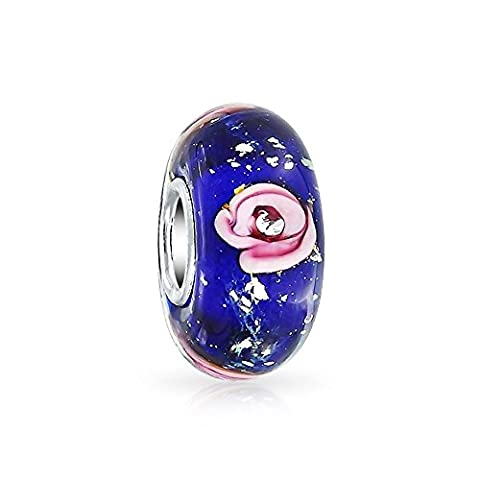Bling Jewelry Pink Rose Simulated Sapphire Murano glass Lampwork Charm Bead .925 Sterling Silver